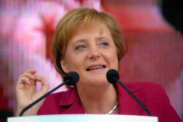 Die spätere Bundeskanzlerin Angela Merkel im Wahlkampf, Bielefeld, August 2005