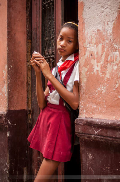 Schulmädchen in Havannas Altstadt, fotografiert am 19. Mai 2008.