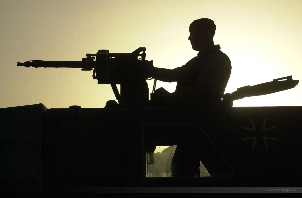 On patrol near Bagrame, Afghanistan, July 2004