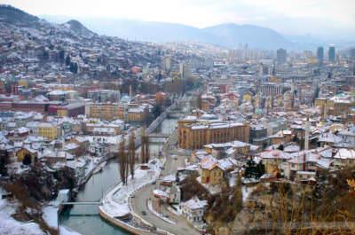 Blick auf Sarajevo, Bosnien-Herzegowina, Februar 2006