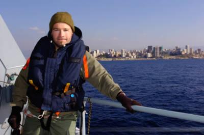 """Carsten Borgmeier an Bord der deutschen Fregatte """"Bayern"""", im Hafen von Beirut, Libanon, Januar 2008"""